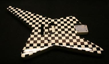 Bone White / Black Checker Guitar