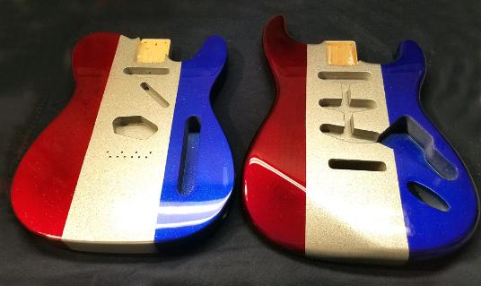 Buck Owens Style Twins - Red Blue Silver Metal Flake Strat and Tele