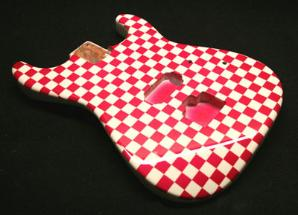 magenta checkerboard guitar
